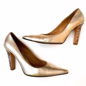 VALENTINO GARVANI • Gold Pumps with Jewel Heels